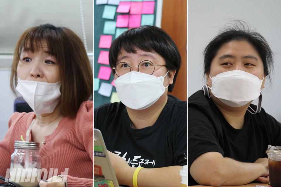 지난 9월 8일과 18일, 두 차례에 걸쳐 서울 종로구 유리빌딩에서 다섯 명의 여성활동가들이 장애인운동에서 젠더·섹슈얼리티 의제가 어떻게 인식되고 다뤄지는지 이야기를 나눴다. 왼쪽에서부터 김상희(노들장애인자립생활센터), 이진희(장애여성공감), 정다운(전국장애인차별철폐연대) 활동가의 모습. 사진 강혜민